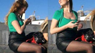 Three Hot Candid Girls In Short Skirts