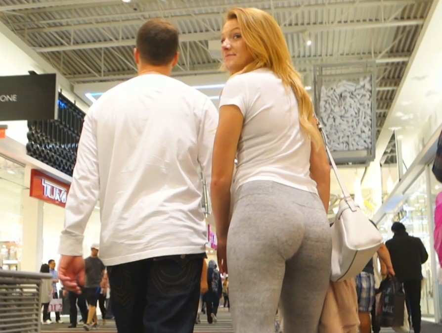 Hot Blonde GF Candid Ass In Leggings - The Candid Bay